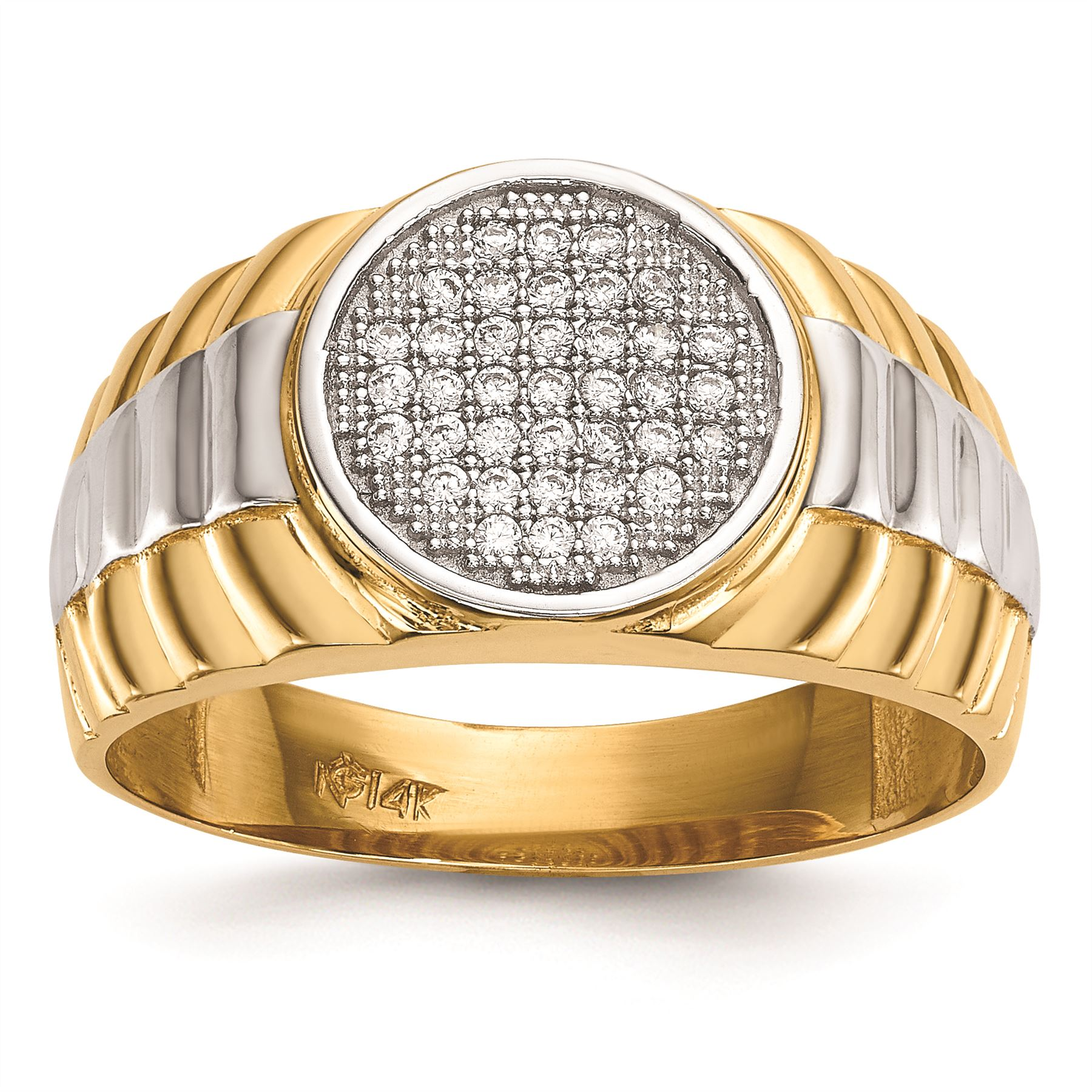 14K White And Yellow gold 12.5 MM Men's Micro Pave CZ Round Ring, Size 10