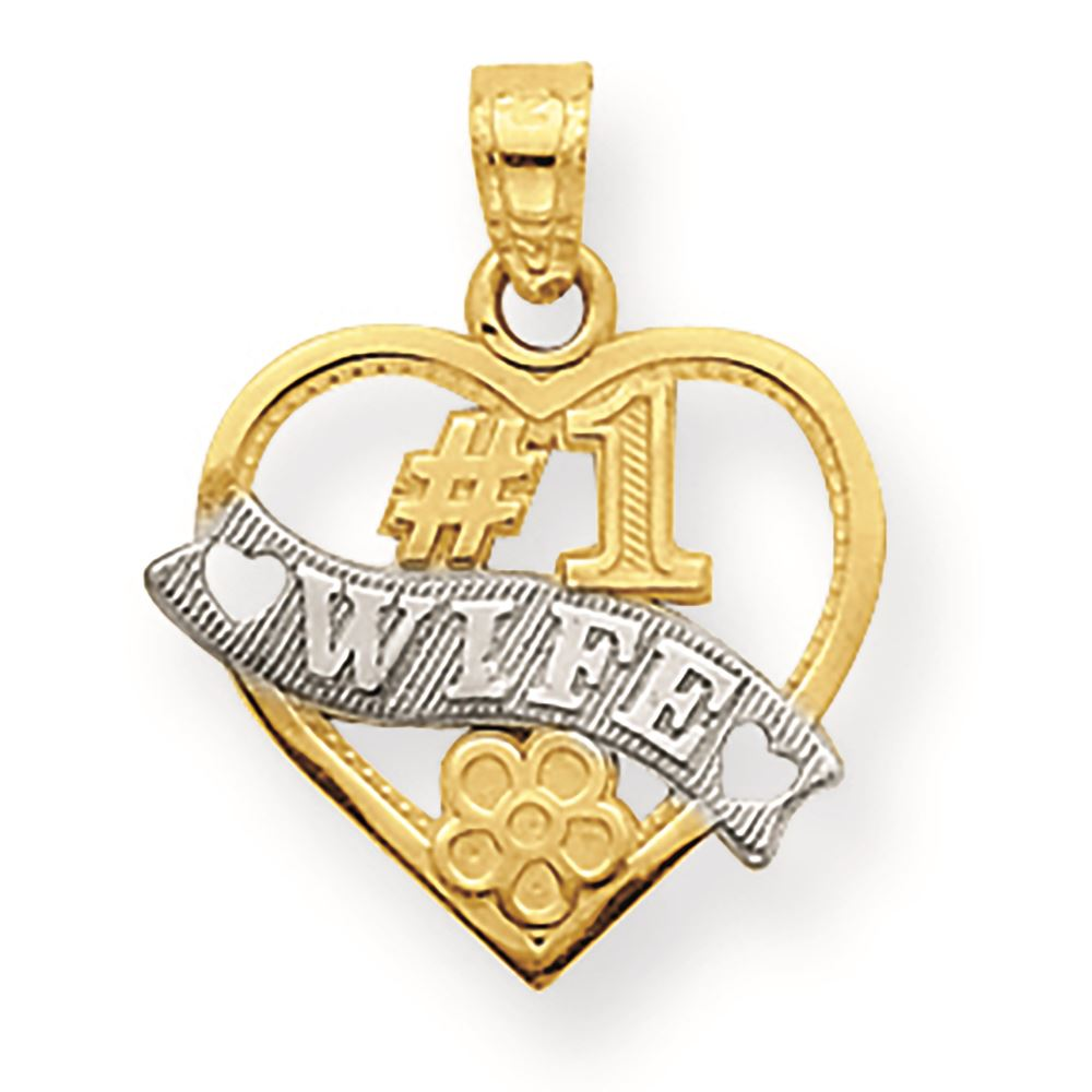 10k Yellow Gold Wife Of The Year Pendant Charm Necklace Talking Fine Jewelry Gifts For Women For Her