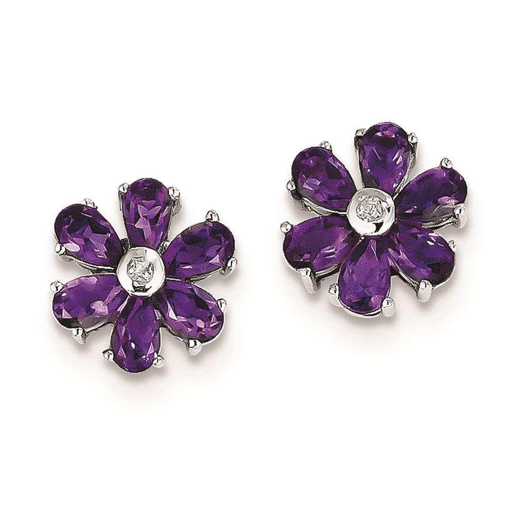79c1f2426 925 Sterling Silver Genuine Diamond Amethyst Flower Stud Earrings ...