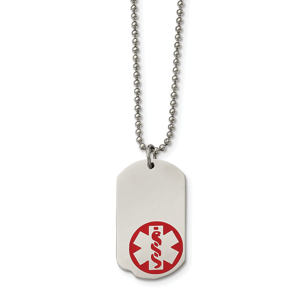 Stainless Steel Dog Tag Pendant with Medical Alert Symbol