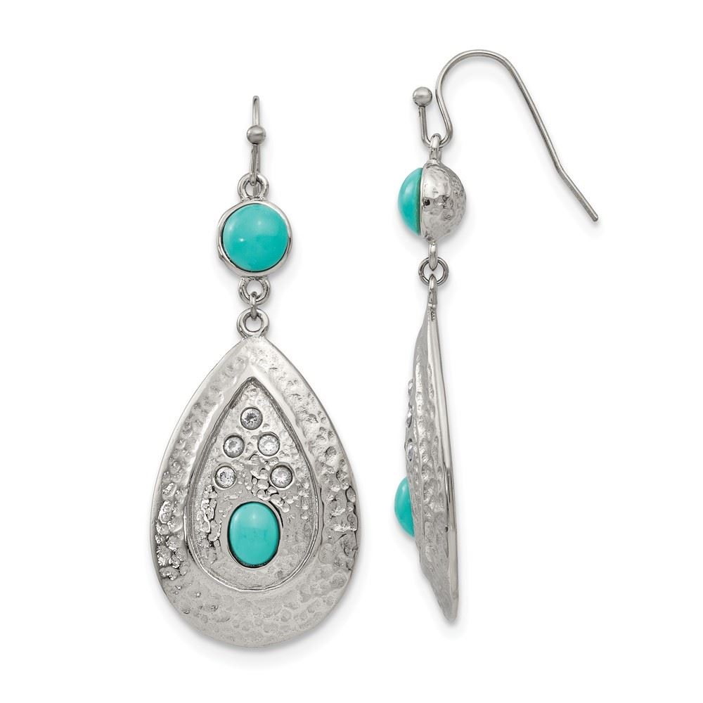 Details about Chisel Stainless Steel Turquoise CZ (Cubic Zirconia) Dangle  Earrings MSRP $83