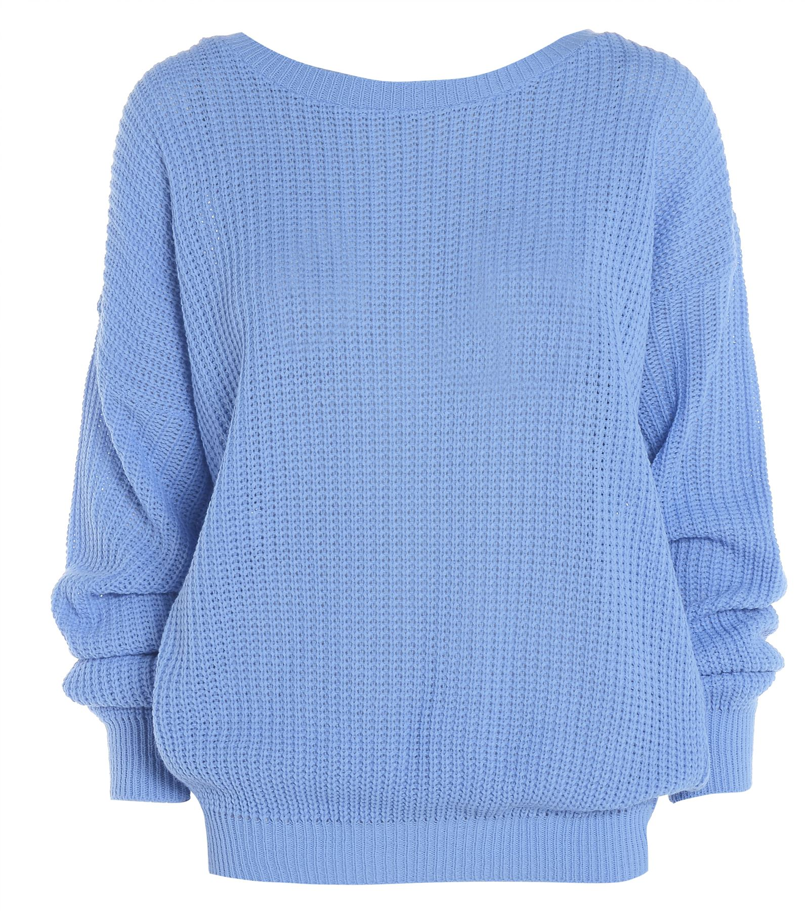 Womens-Ladies-PLAIN-COLOUR-BAGGY-JUMPER-Chunky-Sweater-Knitted-Casual-TOP