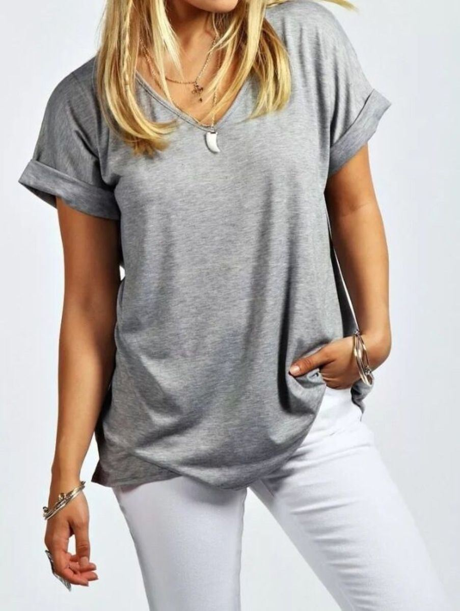 Womens ladies v neck baggy loose fit casual turn up for Best v neck t shirts women s