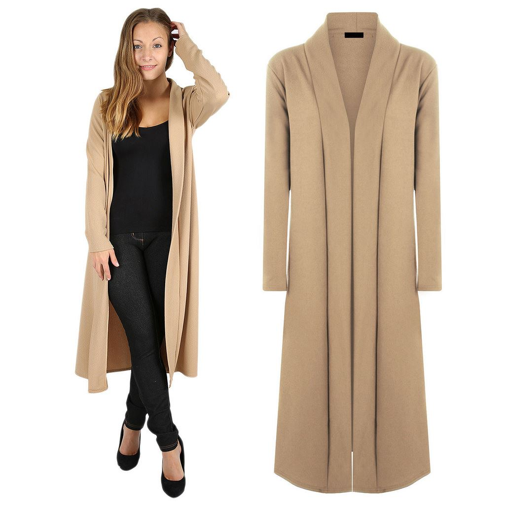 Womens Flowy Long Sleeve Open Front Maxi Cardigan Casual ...