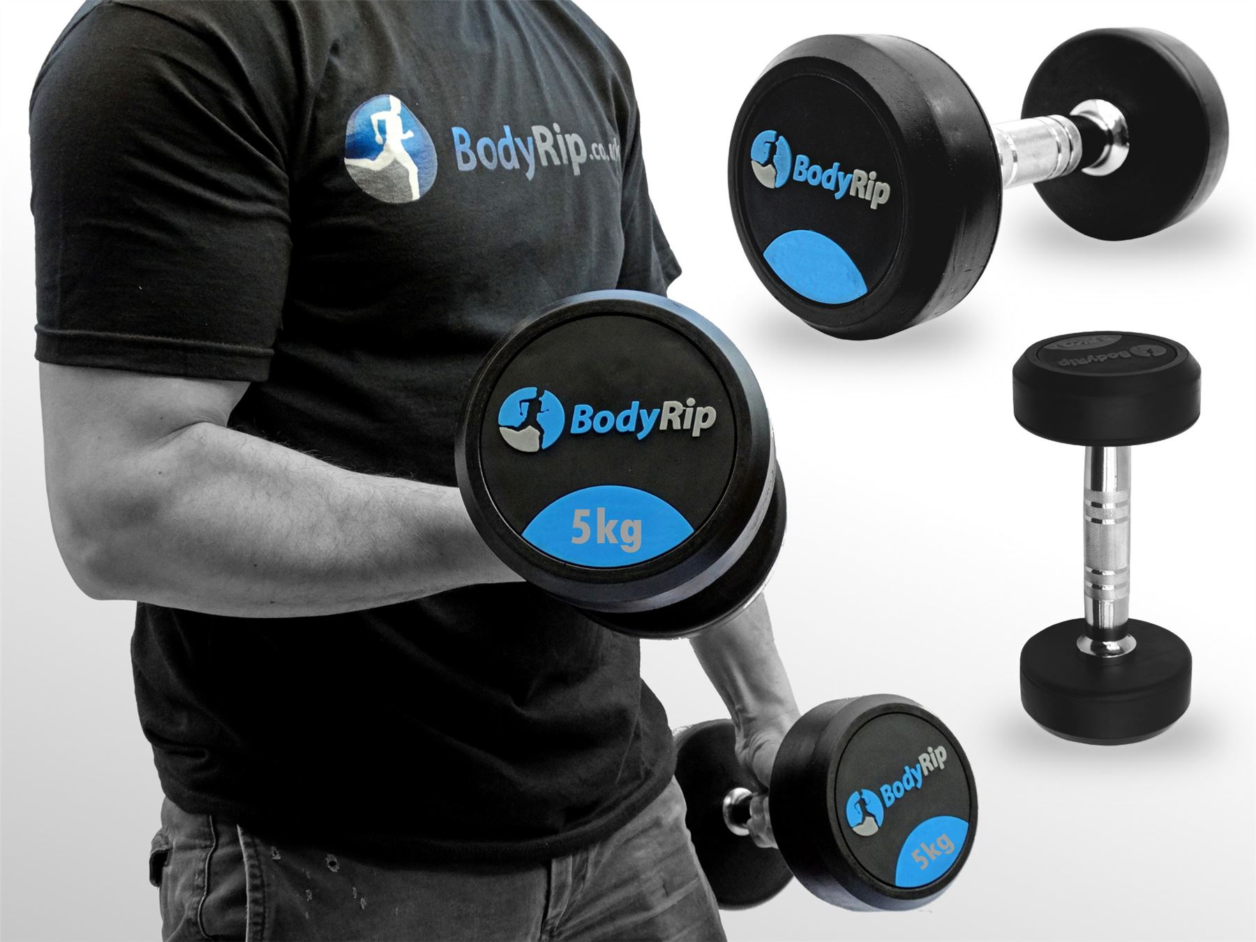 bodyrip fixed weights weight strength lifting dumbbell gym set 2 5kg