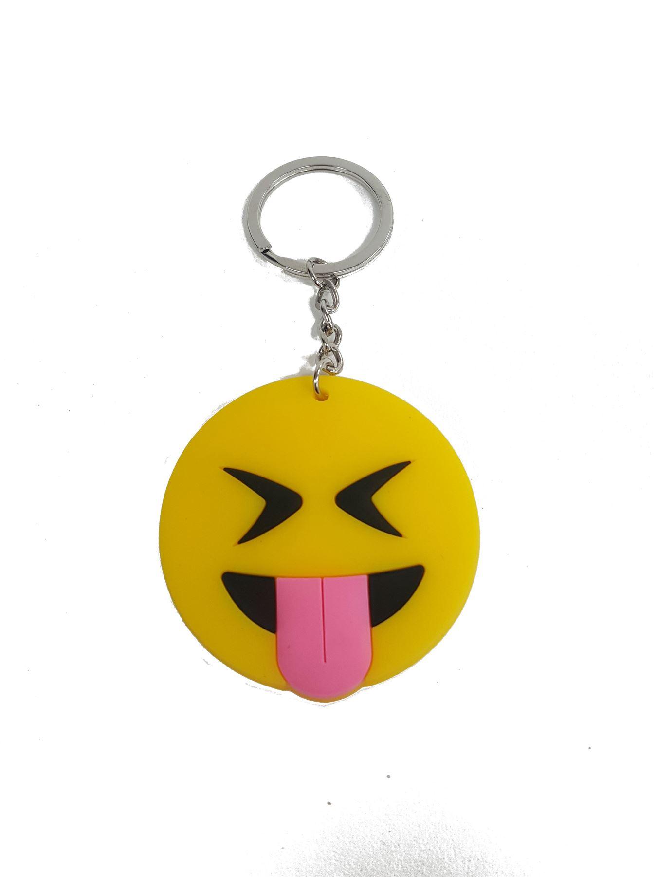 Emoji Emotion Rubber Keyring Funny Smiley Faces Gift Chain Novelty