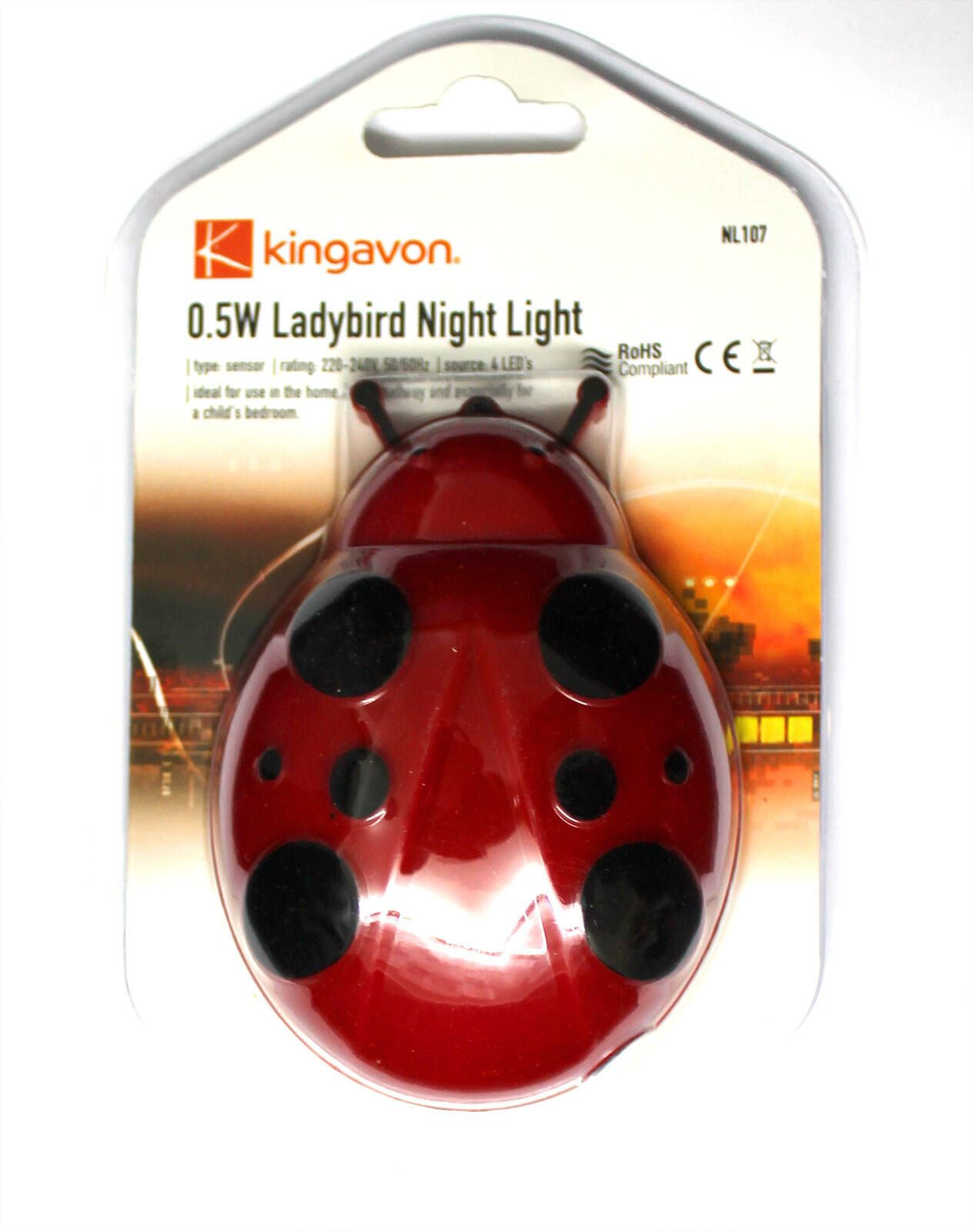 0-5W-LED-Night-Light-Plug-in-Ladybird-Home-Hallway-Child-Safety-Bedroom-Sensor thumbnail 4