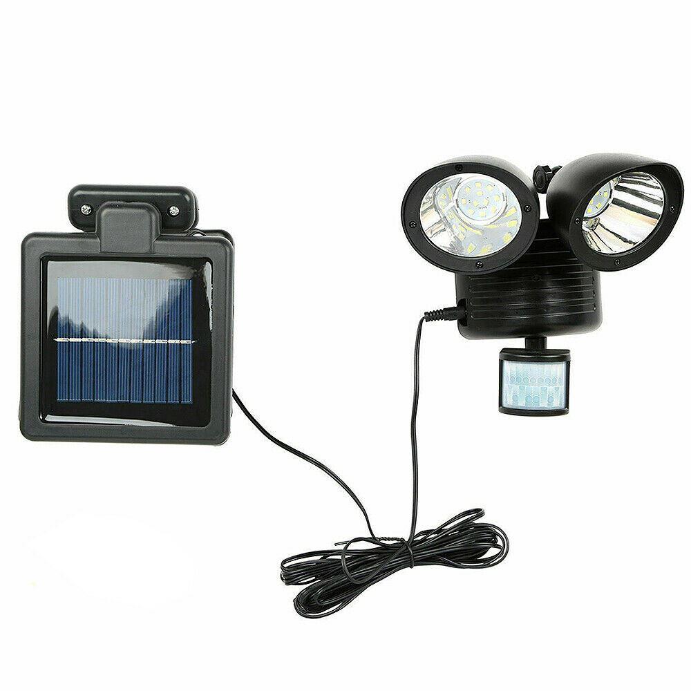 22 DEL Head Solaire Spot Détecteur De Mouvement Extérieur Sécurité Détecteur Lampe Projecteur