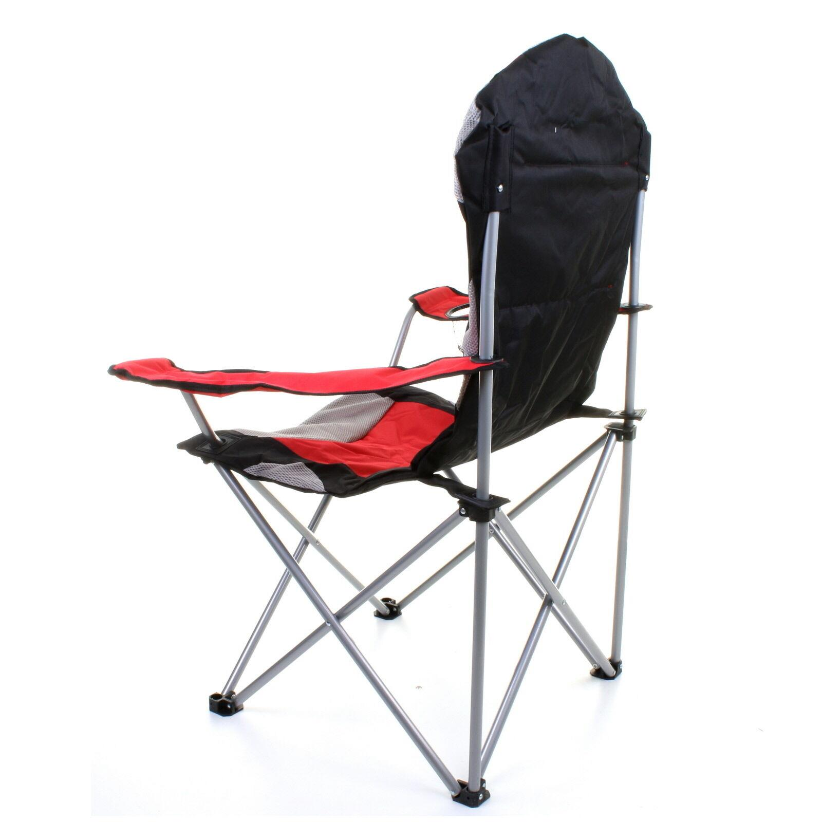 thumbnail 13 - Folding Camping Deluxe Chairs Heavy Duty Luxury Padded with Cup Holder High Back