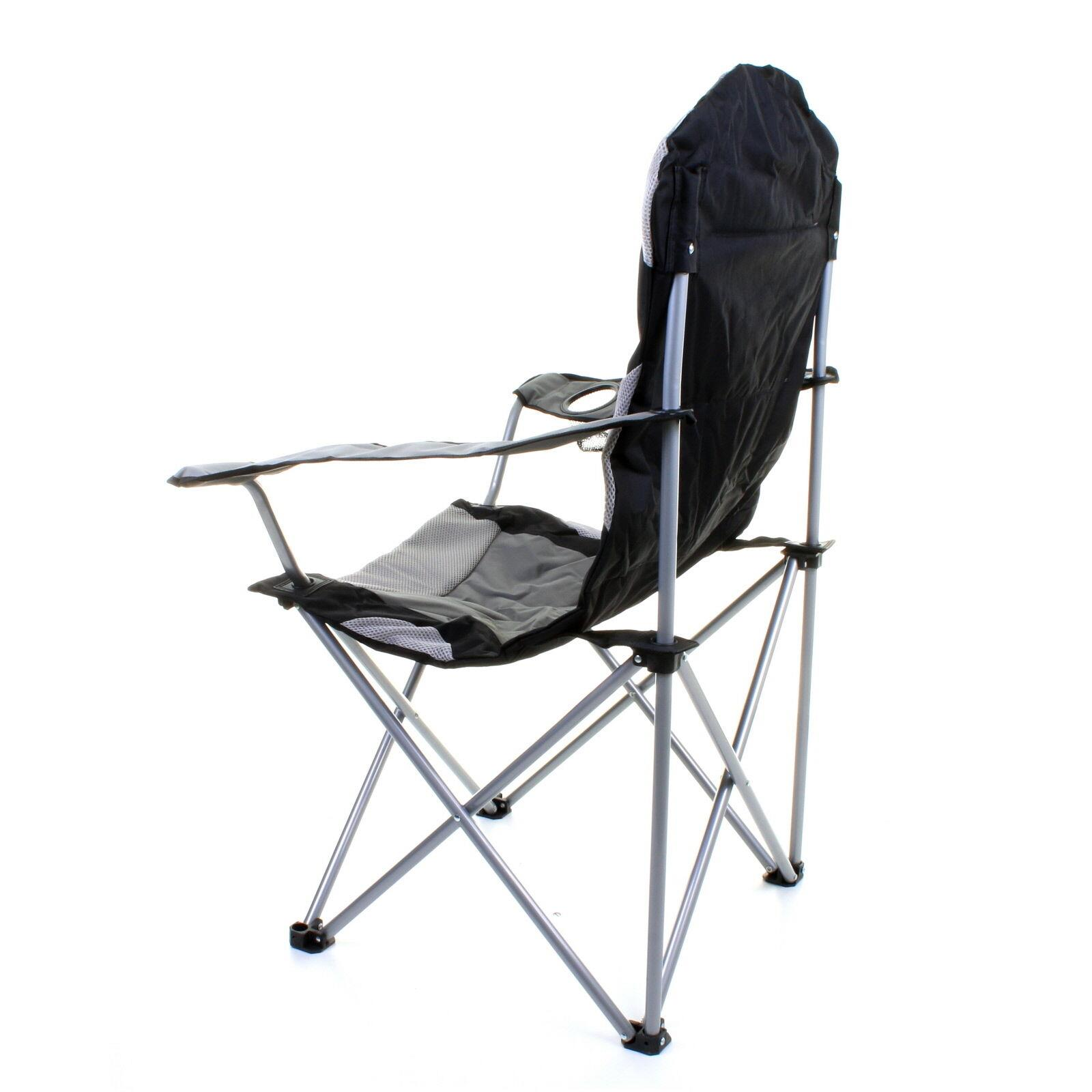 thumbnail 10 - Folding Camping Deluxe Chairs Heavy Duty Luxury Padded with Cup Holder High Back