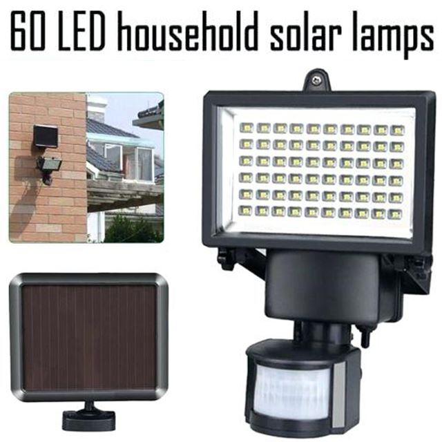60 LED RECHARGEABLE SOLAR POWERED PIR MOTION SENSOR SECURITY LIGHT FLOODLIGHT