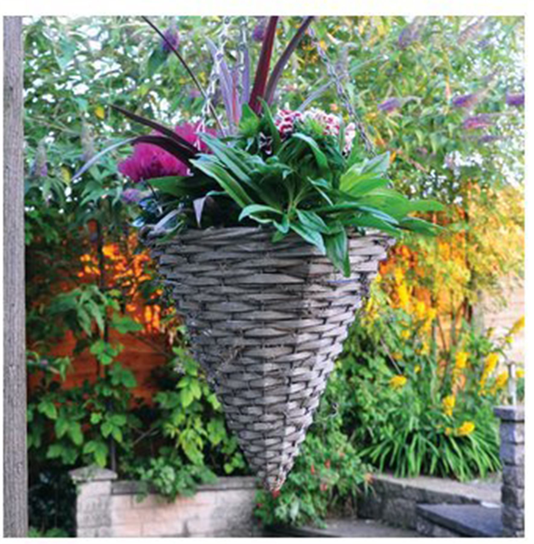 Hanging Flower Baskets Cone Shaped : Garden outdoor natural hanging planting wicker cone