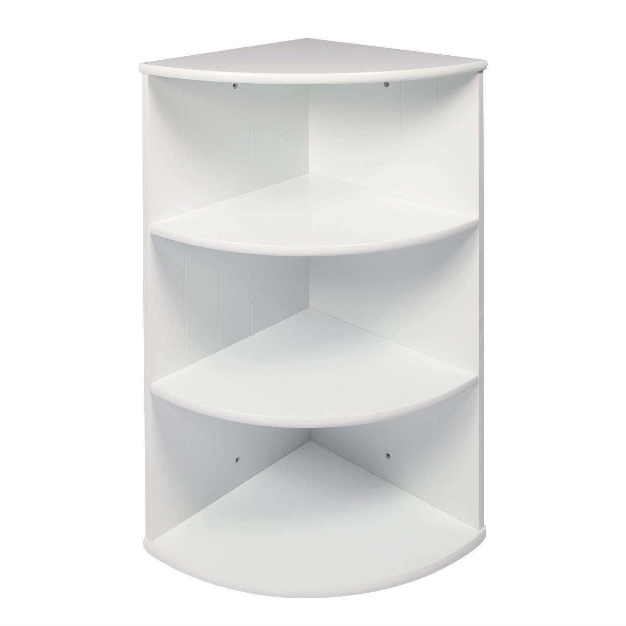 3 tier corner shelving unit white wooden shelves storage - White bathroom corner shelf unit ...
