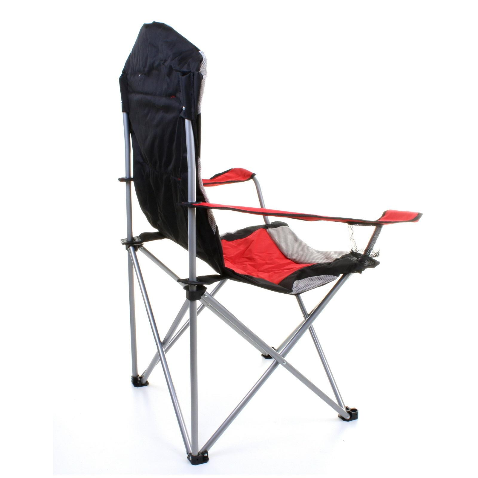 thumbnail 12 - Folding Camping Deluxe Chairs Heavy Duty Luxury Padded with Cup Holder High Back