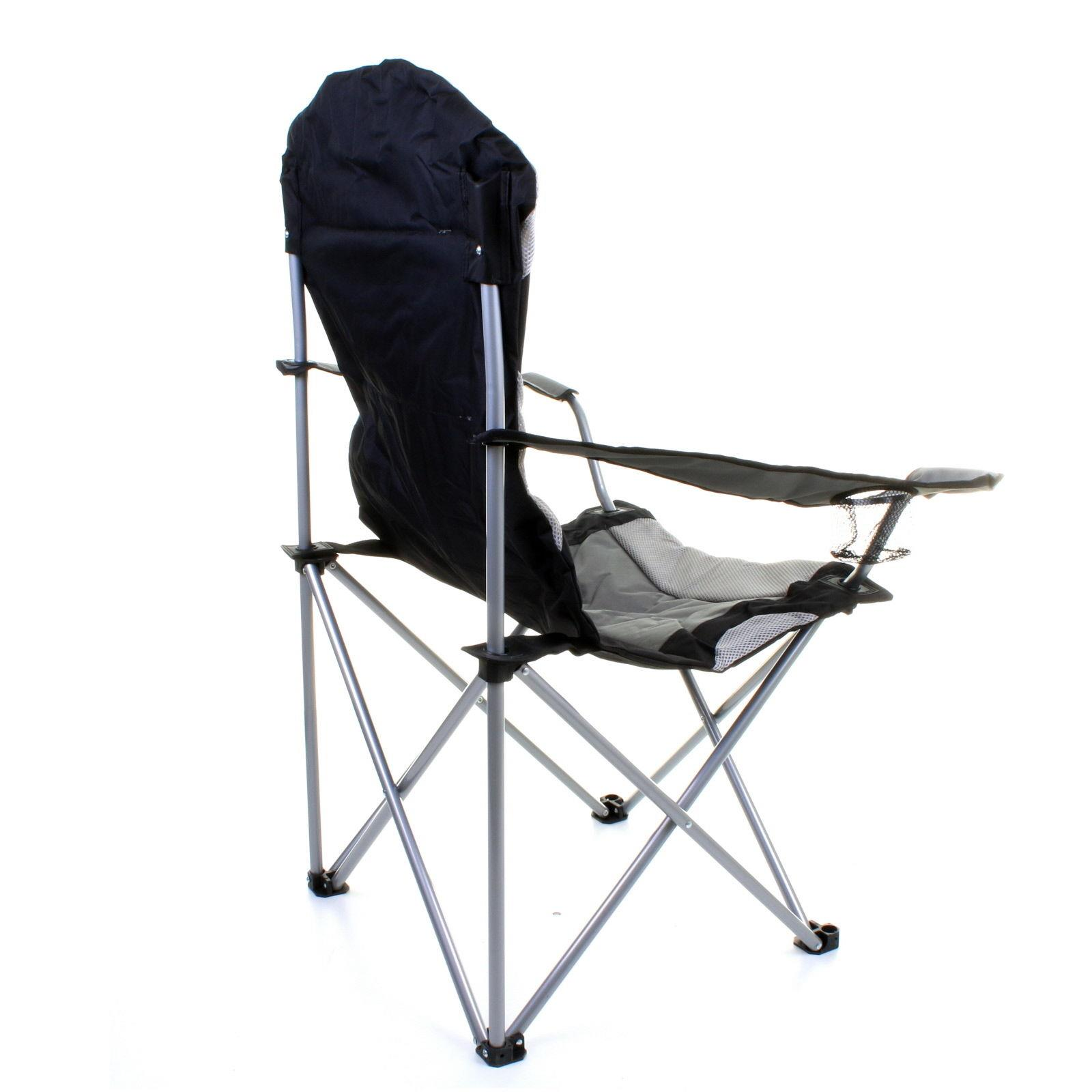 thumbnail 9 - Folding Camping Deluxe Chairs Heavy Duty Luxury Padded with Cup Holder High Back