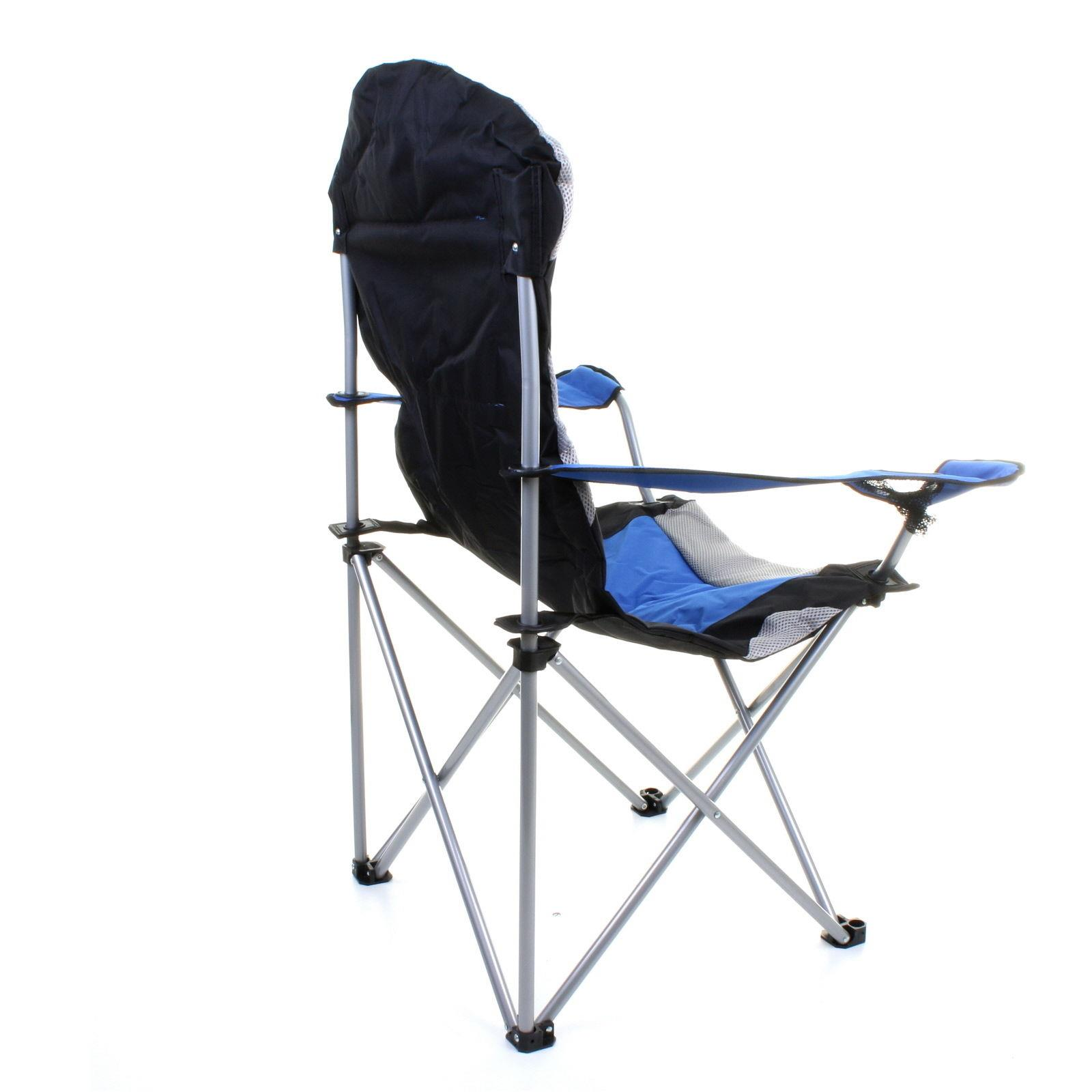 thumbnail 5 - Folding Camping Deluxe Chairs Heavy Duty Luxury Padded with Cup Holder High Back