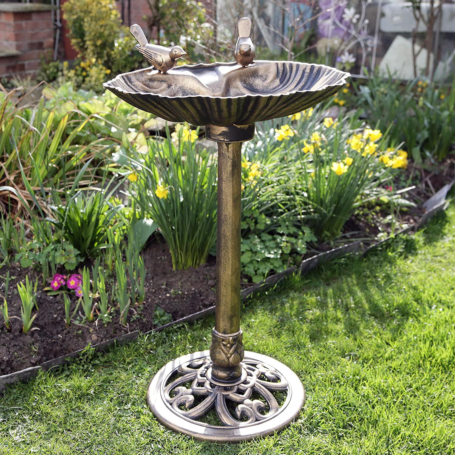 Bird-Bath-Feeder-Bowl-With-Solar-Light-Garden-amp-Patio-Bird-Feeding-Table-Station thumbnail 15