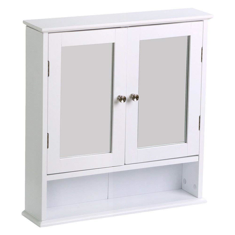 Bathroom wall mounted cabinet double glass door wooden - Wall mounted bathroom storage units ...