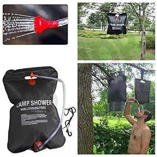 20L Camping Solar Powered Shower Outdoor Sun Heated Water Portable