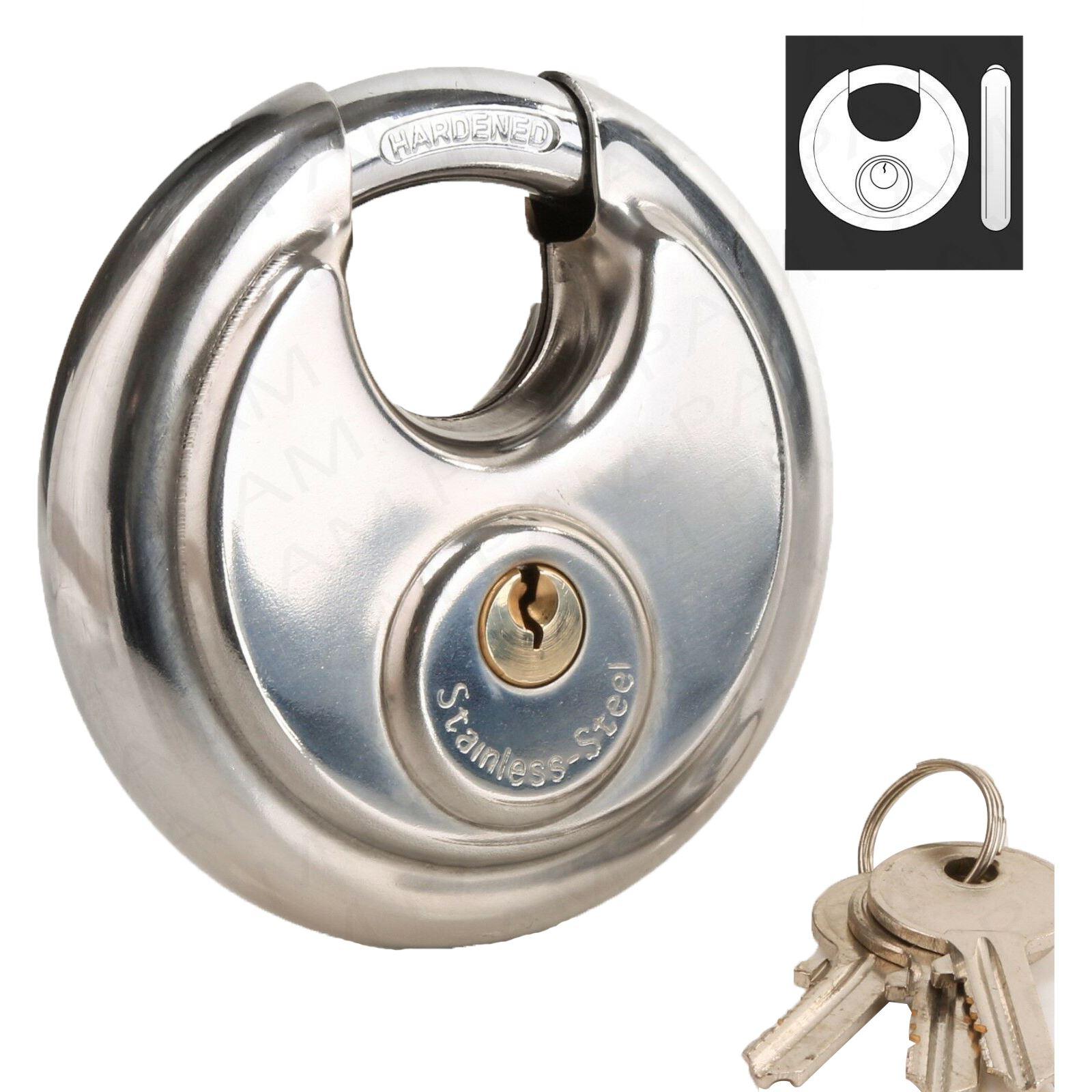 50Mm Round Steel Disc Padlock Door Circular Discus Hardened Shackle Disc Lock