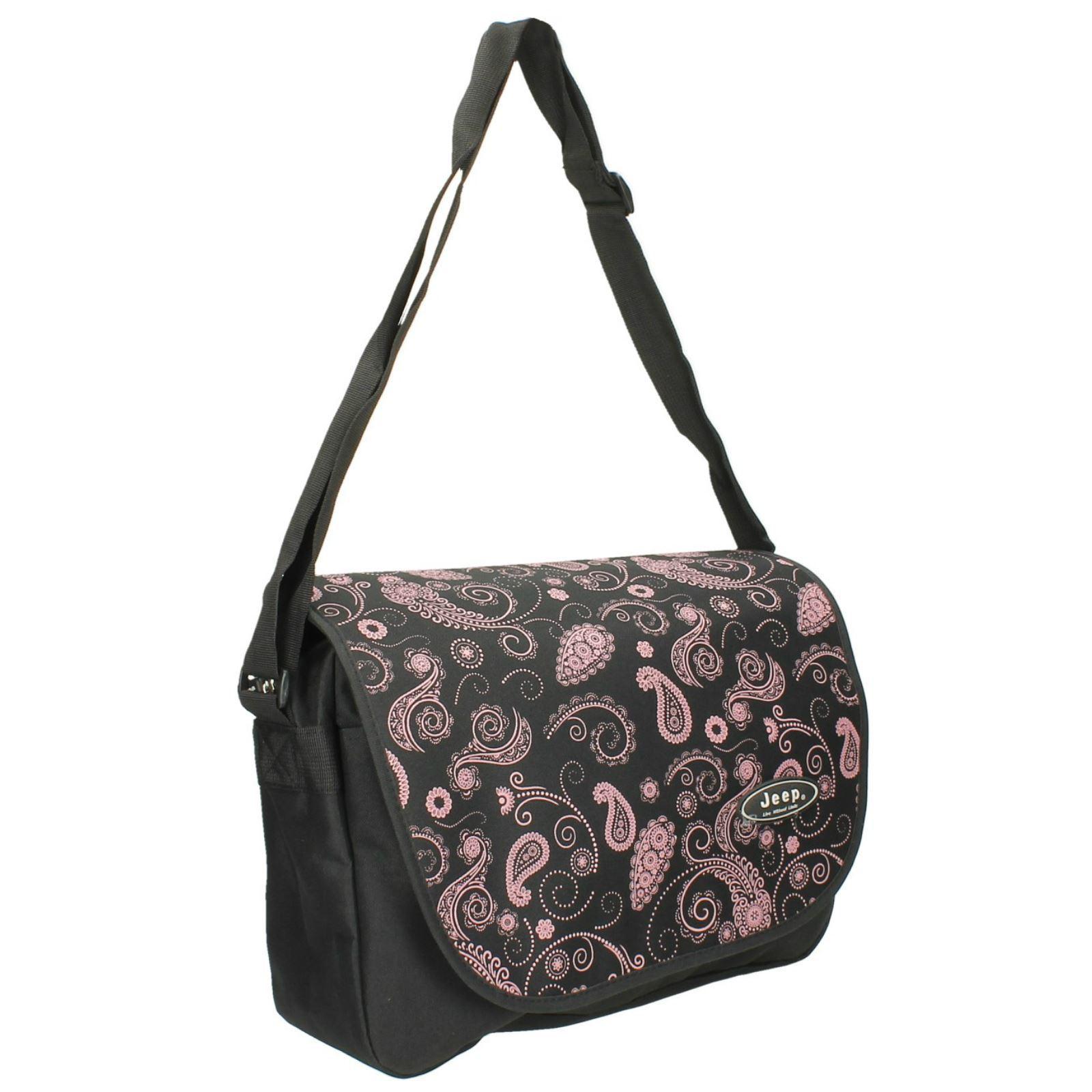 29d0197fa442 Jeep Ladies Black Floral Print School Laptop Computer Messenger Courier Bag.  Product Details