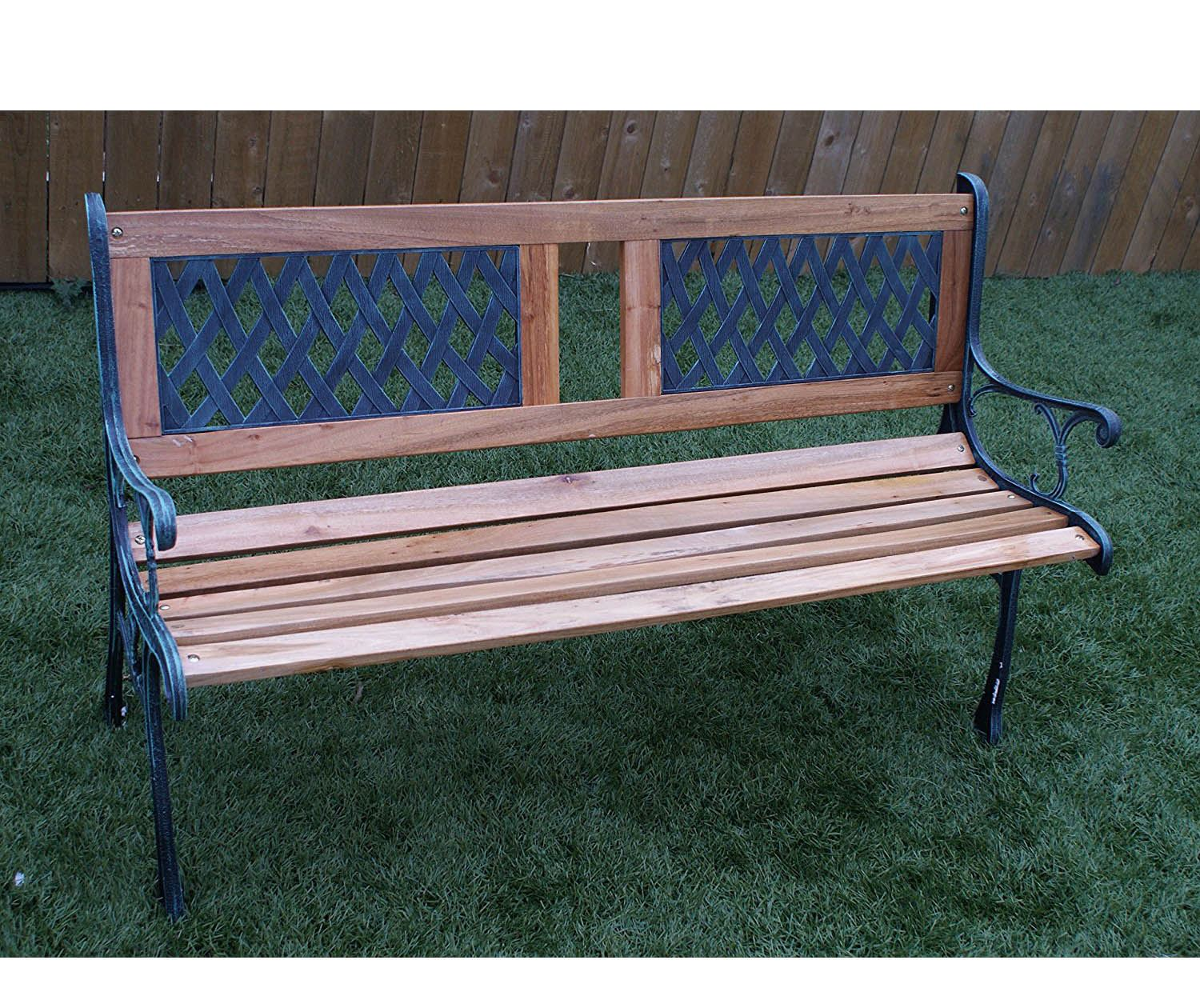 New 3 Seater Outdoor Home Wooden Garden Bench With Cast Iron Legs Seat Furniture Ebay