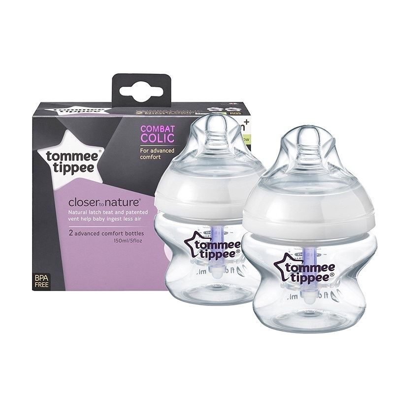 Careful Tommee Tippee Closer To Nature Pack Of 2 Anti Colic 150ml Baby Bottles