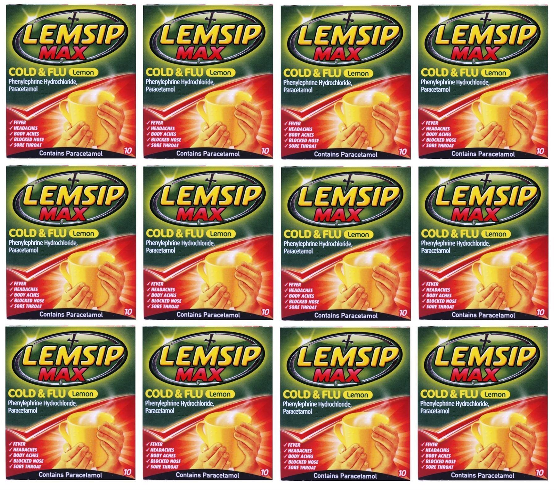 Lemsip-Max-Cold-amp-Flu-Lemon-Hot-Drink-10-Sachets-1-2-3-6-12-Packs