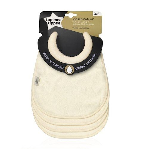 Tommee Tippee 4 Milk Feeding Bibs Beige 1 2 3 6 12 Packs