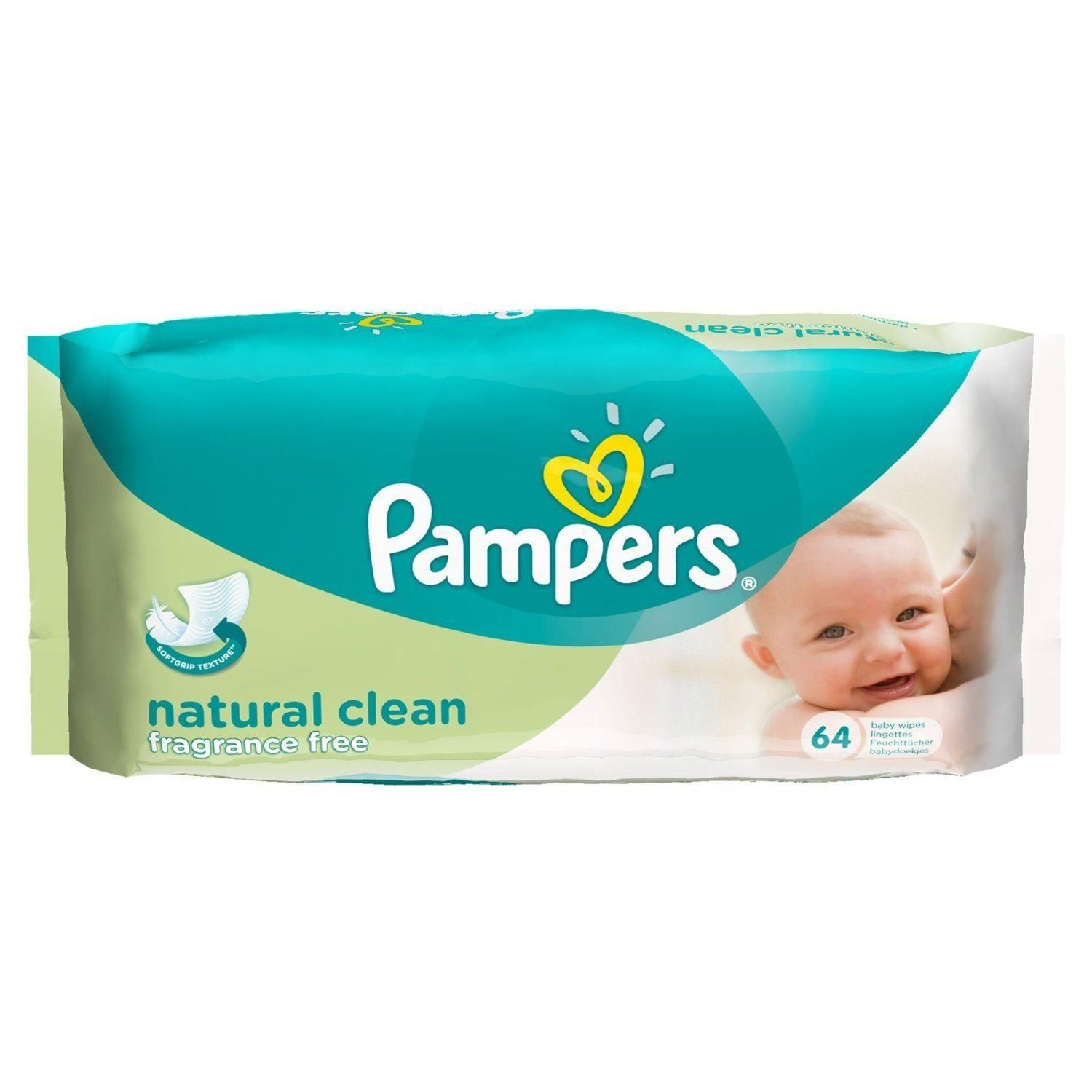 Pampers Natural Clean Fragrance Free Baby Wipes 64 Wipes