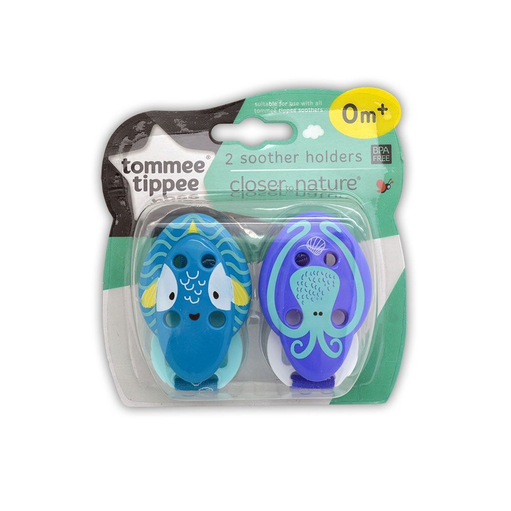 Tommee Tippee 2 Soother Holders Purple And Blue Baby Pacifiers & Soothers