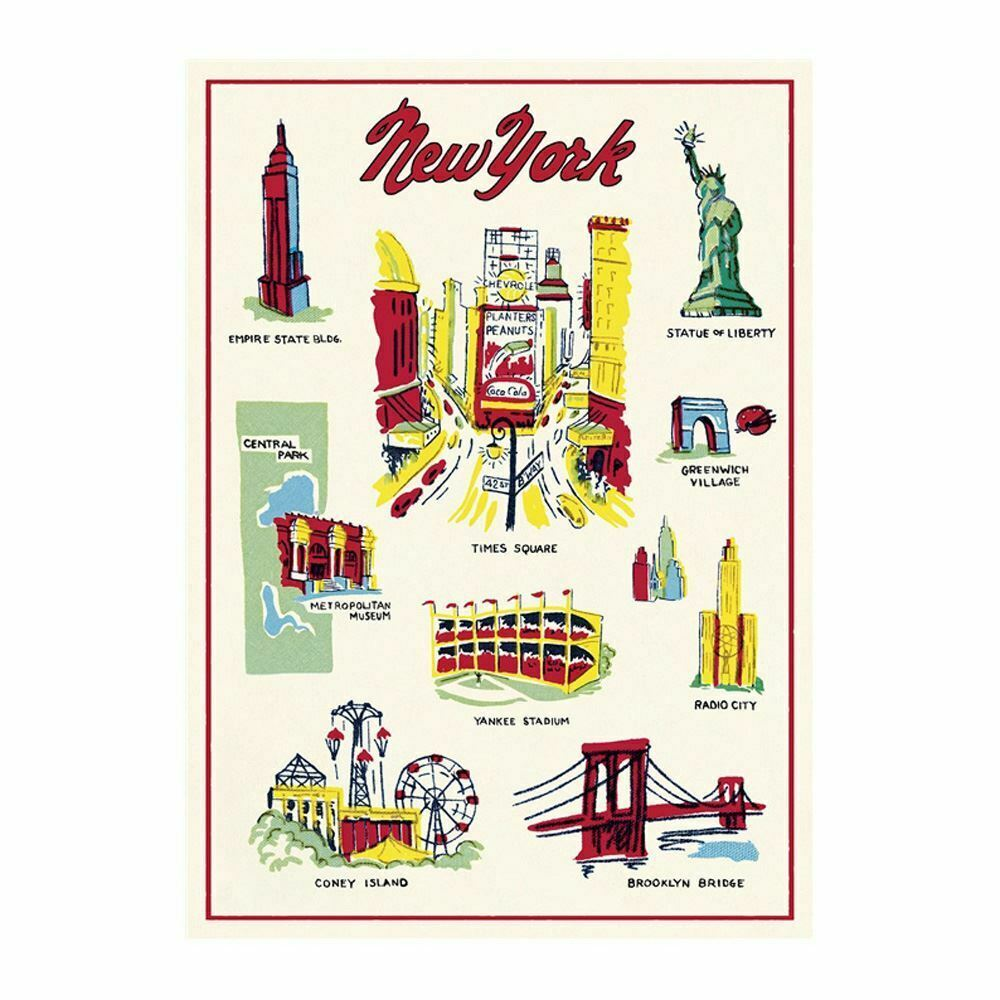Cavallini New York Poster, Retro Wall Art Print, Craft Poster, Decoupage, Luxury Wrapping Sheet, Vintage Wall Decoration