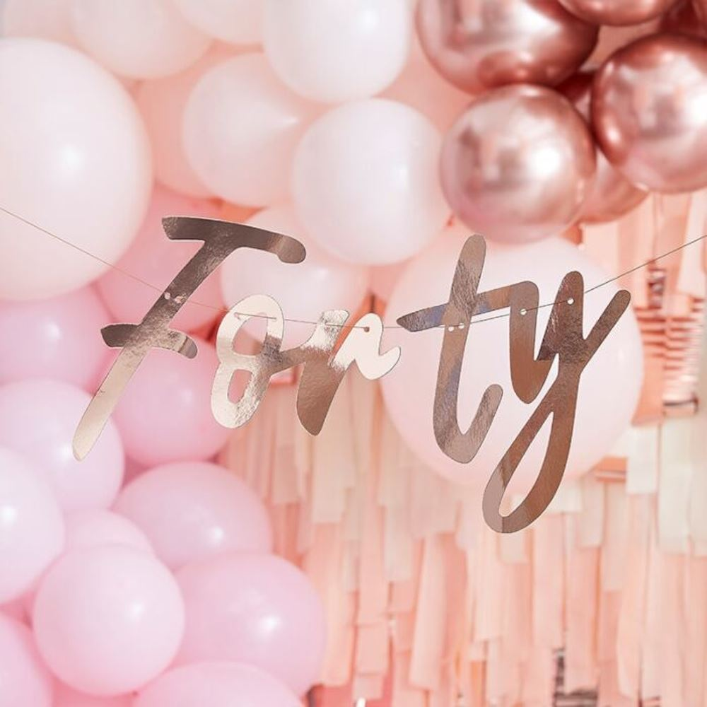 Rose Gold Forty Hanging Bunting 40th Birthday