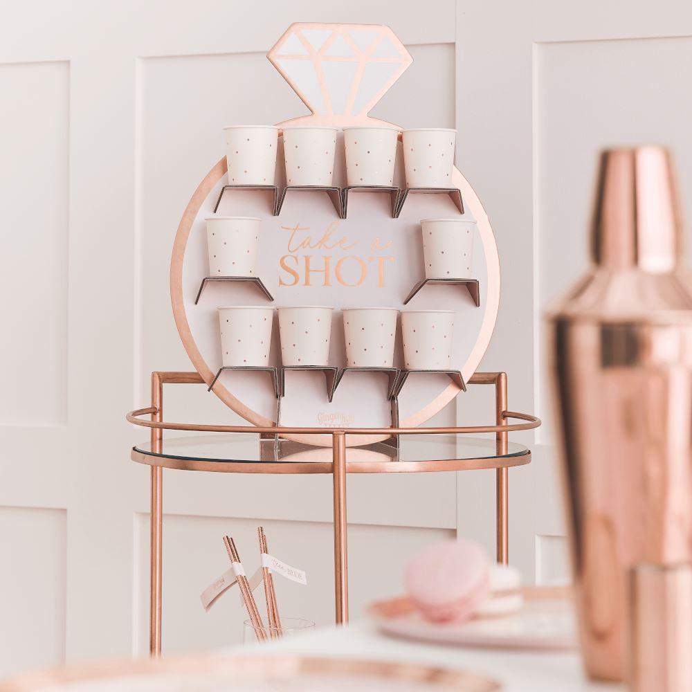 Rose Gold and Blush Pink Hen Party Drinks Shot Wall - Drinking Games