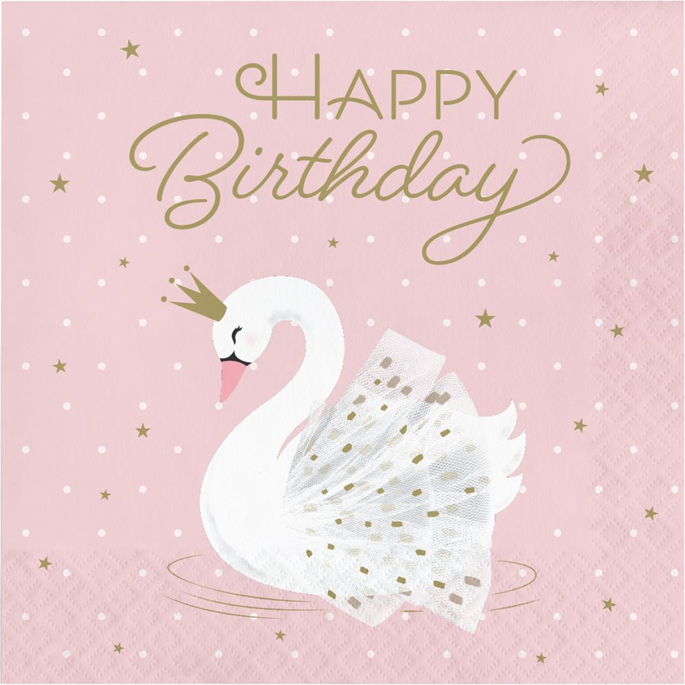 Stylish Swan Party Pink Lunch Napkins 'Happy Birthday' 2 ply x 16