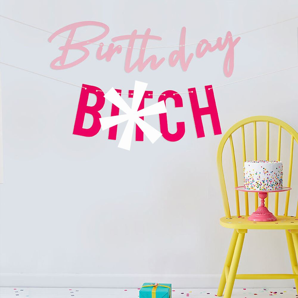Birthday Bitch Bunting Banner, Adult Birthday Hanging Sign, Birthday Decorations, Adult Party