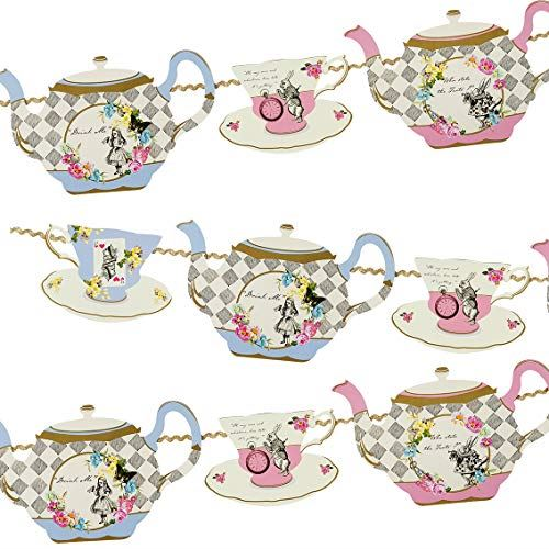 Alice In Wonderland Bunting, Teapot Garland Party Decoration, Wedding Decor, Afternoon Tea Party Decorations, Mad Hatters Tea Party