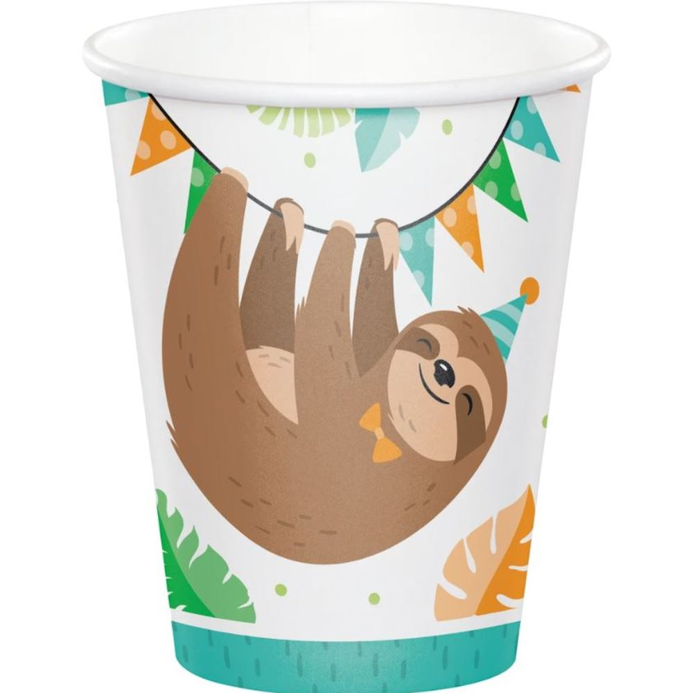Sloth Childrens Party Paper Cups x 8