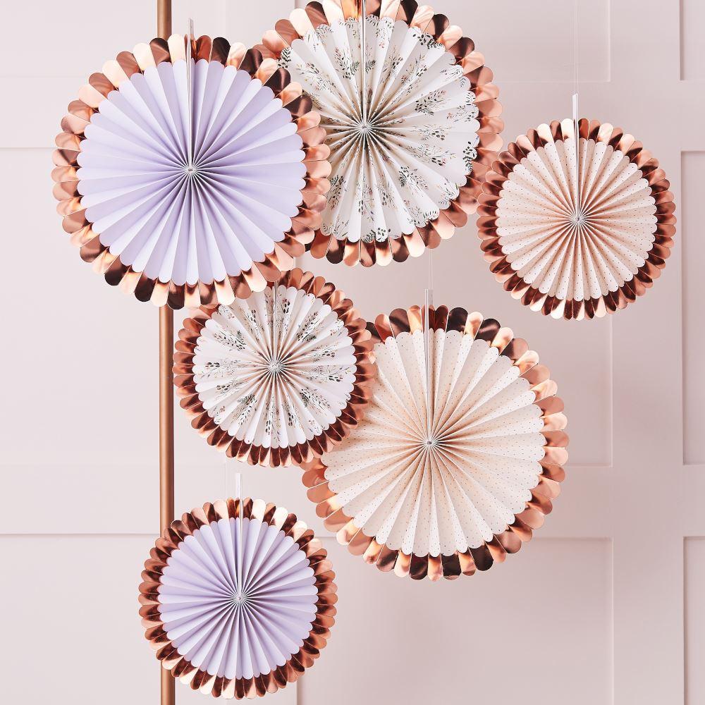 Rose Gold Foiled Floral Paper Fans Tea Party Decorations x 6