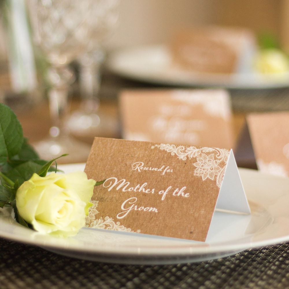 Reserved Wedding Card Set of 4 Mother of Bride Groom Family RUSTIC BROWN