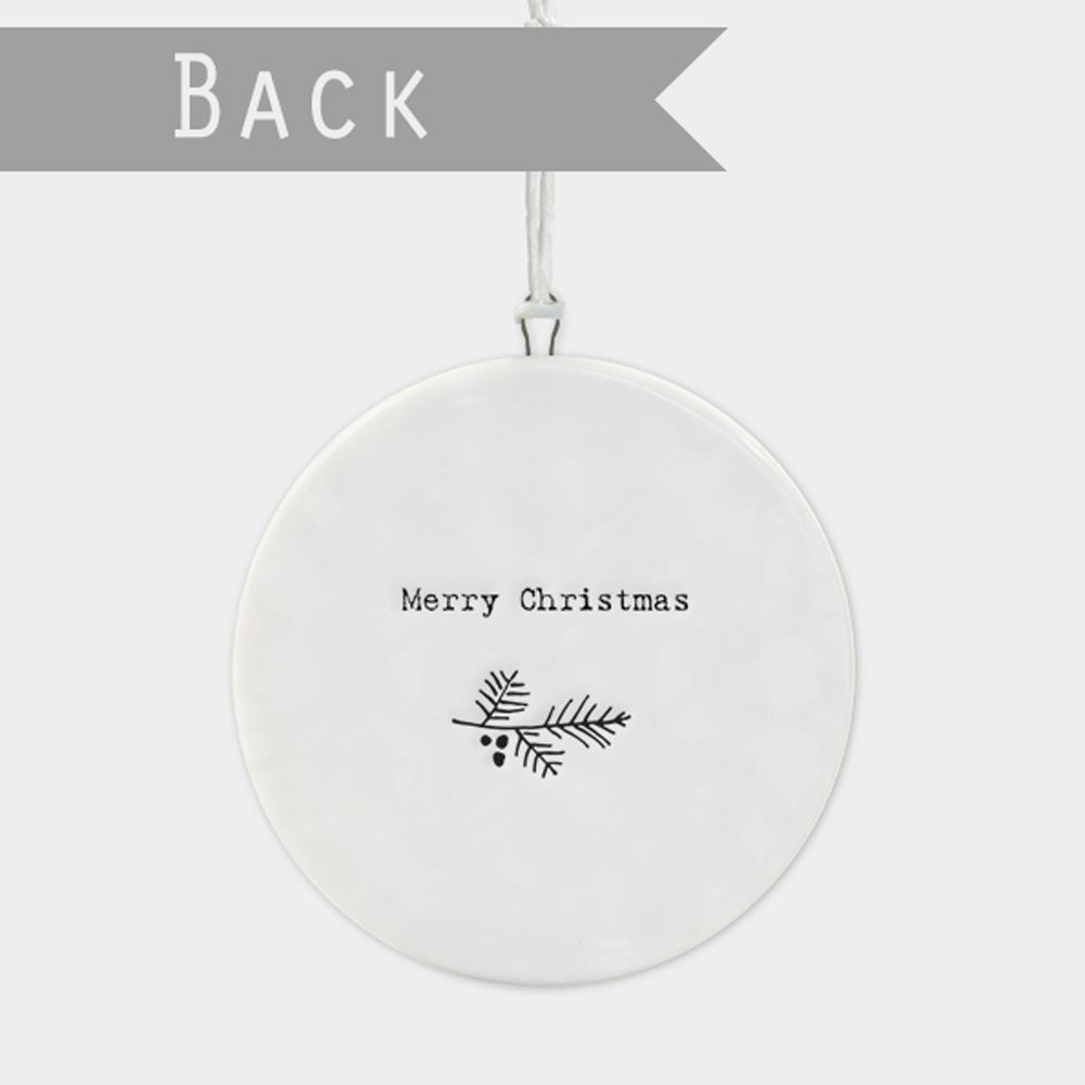 East-of-India-Flat-Christmas-Bauble-hanging-decoration-porcelain-gifts thumbnail 29