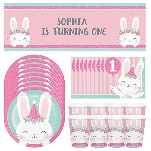1st Birthday Bunny Party Pack for 8 People, Pink 1st Birthday Decorations includes 8 Plates, Cups 16 Napkins 1 Banner, Girls 1st Birthday