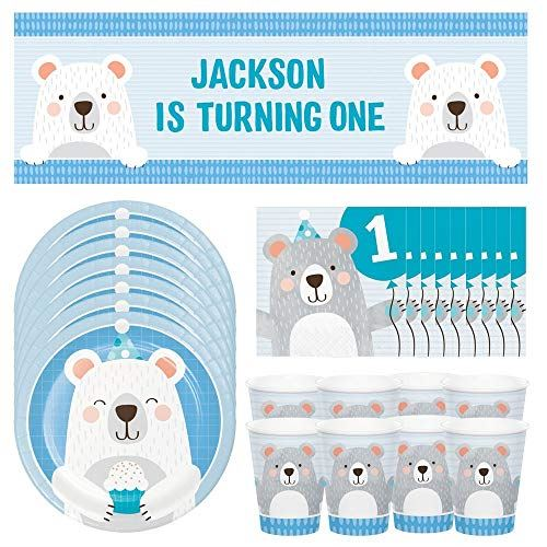 1st Birthday Teddy Bear Party Pack, Birthday Party Decorations, 1st Birthday Party Paper Cups Plates Napkins & Banner Party Set