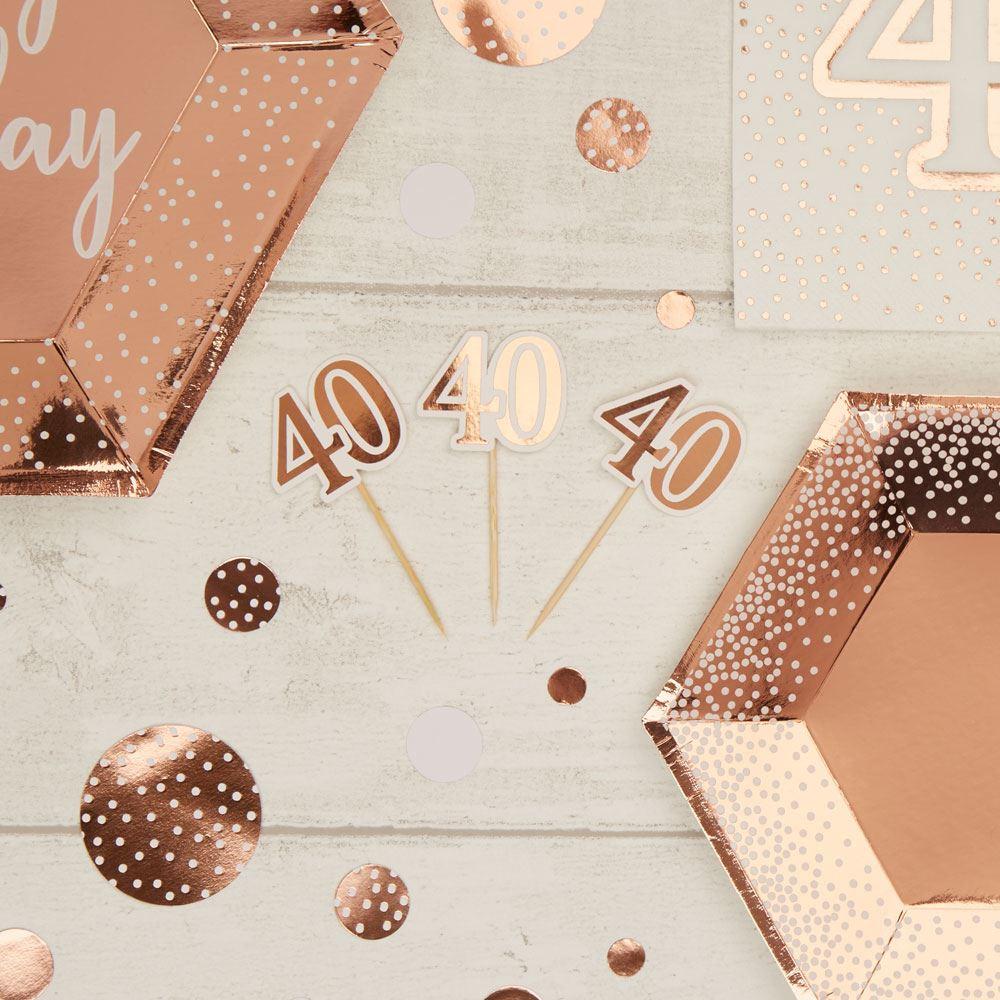 Rose Gold 40th Birthday Cupcake Food Picks x 10