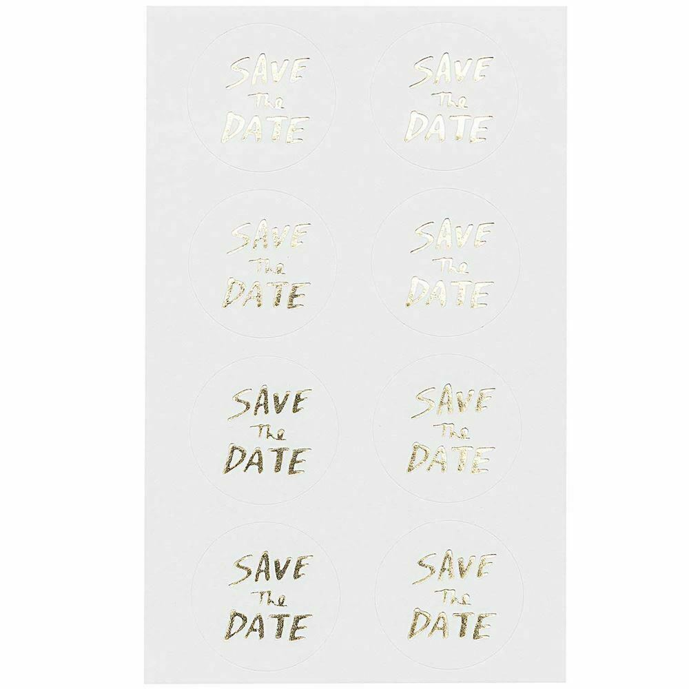 32 Gold Save The Date Stickers, Wedding Invite Stickers, DIY Party Invitations, Gold Craft Stickers, Special Occasion Stickers