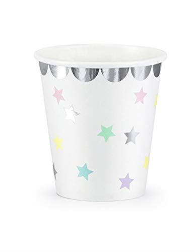 6 Pastel Star Paper Party Cups, Unicorn Birthday Party Cups, 1st Birthday Party Cups, Gender Neutral Party Cups, Pastel Christening Cups