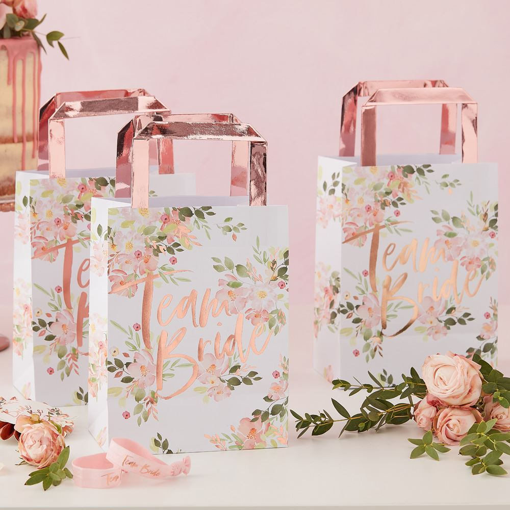 5 Team Bride Hen Party Bags, Rose Gold Floral Bachelorette Party Bags, Team Bride Bags, Bachelorette Party, Bridal Shower, Hen Party