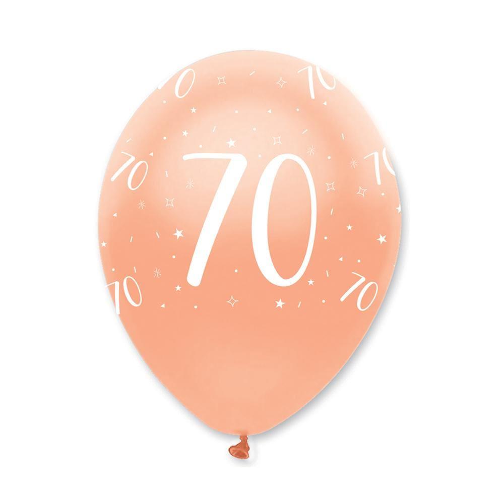 Rose Gold Age 70 Birthday Balloons x6