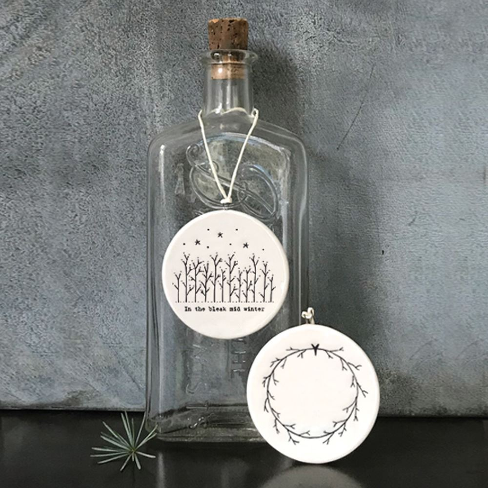 East-of-India-Flat-Christmas-Bauble-hanging-decoration-porcelain-gifts thumbnail 11