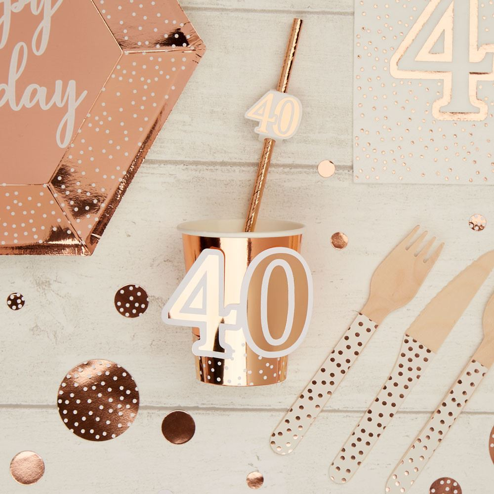 Rose Gold 40th Birthday Paper Party Cups x 8